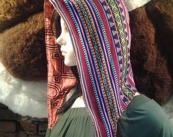 Fair Trade Peruvian Manta Reversible Shipibo Fire Hood
