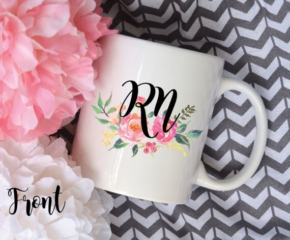 RN Nurse Mug, Watercolor Floral Sublimation Mug, 2 Sided, Nurse Gift, Peony Mug, Custom Name Mug