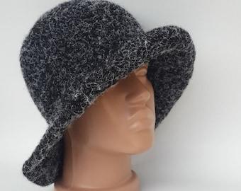 Wool Hat, Crochet Hat, Black wool Hat, Winter Hat, Stylish hat, Hand Knit hat, Womens winter hats, Warm hats, Knitted Hat, Black lint Hat