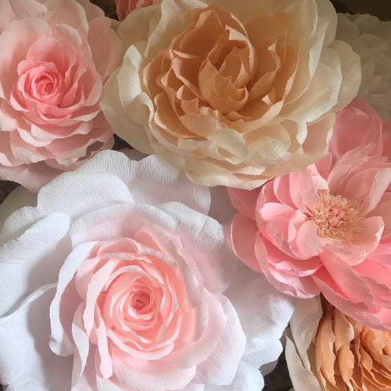 8 Piece Set, Crepe Paper Flower Wall, Wedding Flower Decor, Party Decorations, Handmade Paper Roses, Flower Wall Set, Baby Room Decor