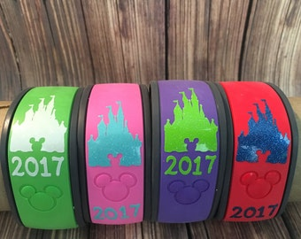 Glitter Castle Decal With Year /Gliter Magic Band Decal /Glitter Disney Decal /Disney Castle Sticker