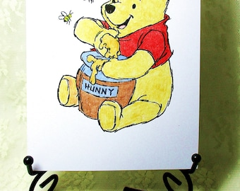 Winnie the Pooh with Honey Card: Add a Greeting or Leave Blank