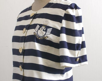 Vintage navy / cream stripe sailor badge embroidered gold tone button crop top