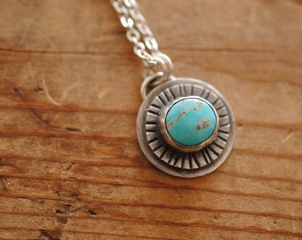 Sun Ray Turquoise Pendant | Sterling Silver