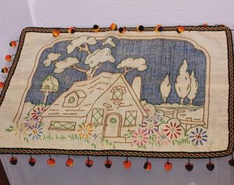 Handmade Embroidered Pillow Cover Pom-pom and Braided Trim
