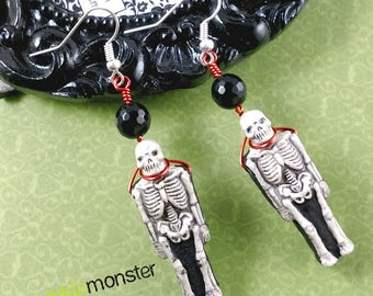Crypt Keeper - skeleton dangle earrings, white and black charms, round black crystal beads