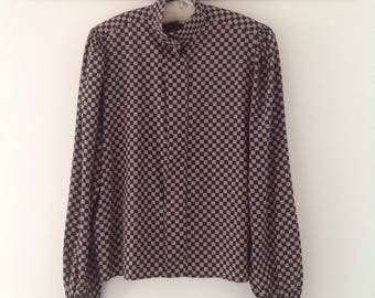 Women's blouse, vintage blouse, chess board shirt, 80's shirt, ladies blouse, Vintage Alexon blouse, women's shirt, high neck blouse