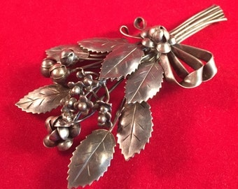 CLASSIC Hobé Floral Brooch - 1940s Sterling Silver - Leaves and Buds Wrapped in Ribbons and Bow - BEAUTIFUL! 943