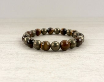 Tigers Eye and Pyrite Bracelet, Gold Tigers Eye, Pyrite, Gold Bracelet, Stretch Bracelet, Brown Bracelet, Healing Crystals, Natural Stone