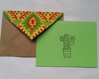 Cactus Handmade Recycled Stationery - Set of 10