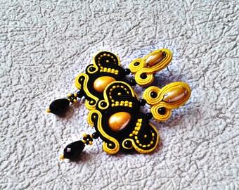 Soutache Earrings black and yellow- Soutache earrings  -  Handmade Earrings. Long earrings