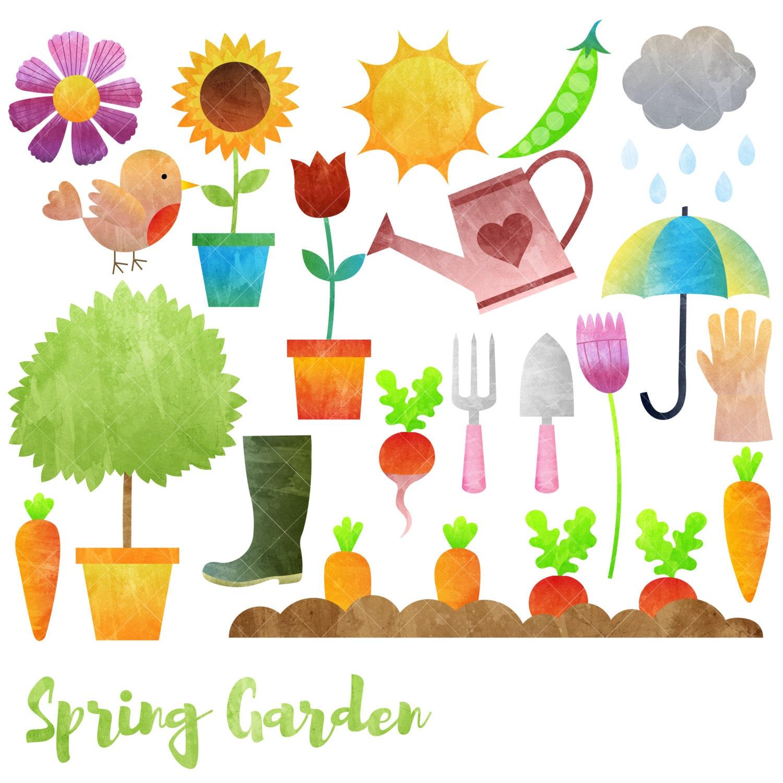 Spring Garden Clipart / Gardening Clip Art / Watercolor