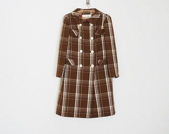 Vintage 60s long plaid wool coat // Size XS