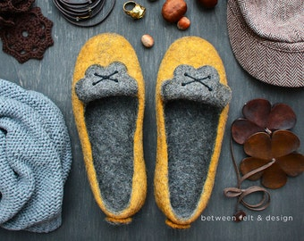 Felted slippers Natural latex sole Unique design Wool clogs Women home shoes