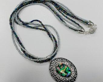 Pendant, necklace, green  platinum necklace