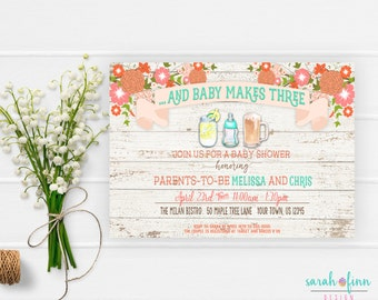 Baby bash couples coed baby shower invitation card baby boy