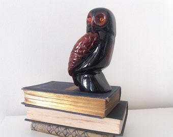 Vintage ceramic owl figurine with glass eyes