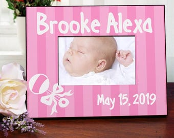New Baby Girl Rattle and Bow Personalized Printed Frame - Baby Frames - New Baby Pink Frame - Baby Announcement Frame - New Baby Gifts