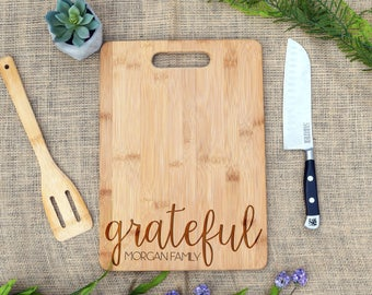 Grateful & Family Name Cutting Board, Custom, Personalized, Cheese Board, Bamboo, Engraved, Thanksgiving Gift, Housewarming, Gift, Present
