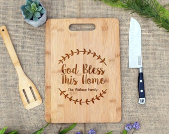 God Bless This Home Custom Cutting Board, Personalized Cutting Board, Housewarming, Wedding, Real Estate Closing Gift, Present, New House