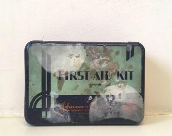 Vintage First Aid Kit Tin Johnson & Johnson Antique 1930s Industrial Metal RX Art Deco Retro Bathroom Decor