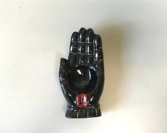 1950s Vintage Black Hand Ashtray Jewelry Holder Trinket Bowl Ring Dish Mid-Century Made in Japan