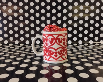 Little Love Birds~Red Heart~Motif~Vintage~Ceramic~Coffee Cup~Mug~ST