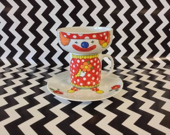 Silly Sweet~3 Piece Set~Cup~Bowl~Plate~Clown Mug Set~Vintage~NOS