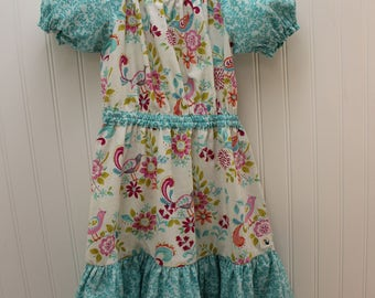 Size 6 Girls Dress, Peasant Style Girls Dress, Girls Party Dress, Girls Easter Dress, Princess Dress, White Dress with Aqua Trim, Bird Print