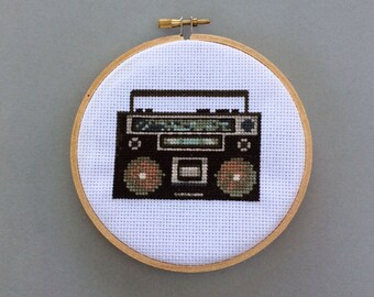 Retro Boombox - Cross Stitch Pattern PDF