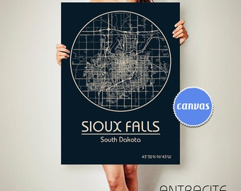 SIOUX FALLS South Dakota CANVAS Map Sioux Falls South Dakota Poster City Map Sioux Falls South Dakota Art Print Sioux Falls South Dakota