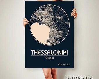 THESSALONIKI CANVAS Map Thessaloniki Poster City Map Thessaloniki Art Print Thessaloniki poster Thessaloniki map art Poster Thessaloniki map