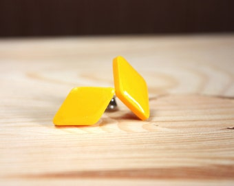 Yellow stud earrings Yellow rhombus studs Yellow earrings Yellow post earrings Glossy yellow earrings Resin stud earrings Small Shiny studs