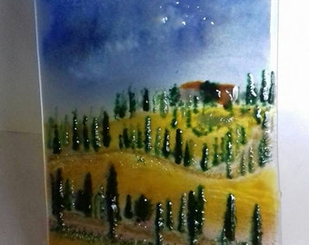 Tuscany - Created using glass powder. Fused glass art/panel. Textured Tuscany Landscape