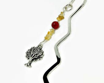 Bookmark with Tree Charm with a choice of Tree Agate or Citrine, Beaded Bookmark, Gift for Men, Metal Bookmark