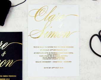 Wedding Invitation, Gold Foil Wedding Invitation, white and Gold Wedding invitation,Script Wedding invitation,Calligraphy Wedding invitation