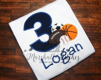 Boy's Monogramed Sport Birthday Shirt in Numbers 1-9!/ Monogramed Sport Ball Birthday Shirt/ Sport Ball Birthday Shirt/ Sport Birthday Shirt