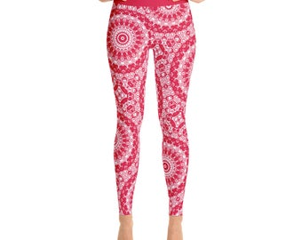 Red and White Leggings - High Waisted Workout Pants, Crimson Patterned Leggings