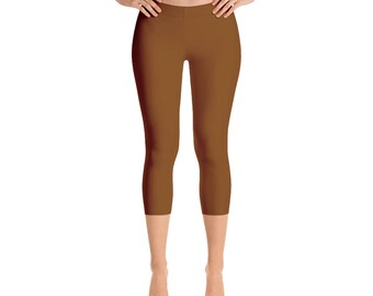 Capris - Chocolate Brown Leggings, Mid Rise Waist Yoga Pants, Workout Clothes for Women