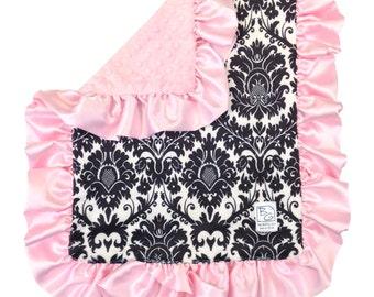 Black Fleur Security Blanket Black Pink