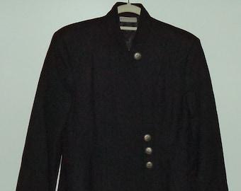 90's boho princess coat// USA made southwest bohemian chic black wool mid length bohemian jacket// Women's size small 4 US