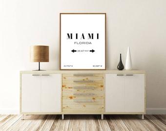 MIAMI PRINT, Miami Florida, Miami Poster, Miami Coordinates, Miami Map, Florida Map, Typography Print, Printable Wall Art, Minimalist Poster