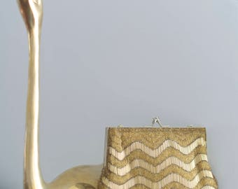Gold Striped Beaded Handbag | Vintage Gold Purse