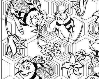 Adult Colouring Page - Bee-doodle. Digital download
