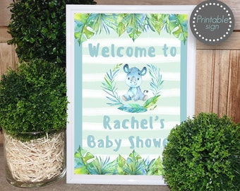 Jungle Baby shower Welcome sign printable, Safari baby shower welcome sign, Animal Baby shower decor, door sign, printable sign, boy baby