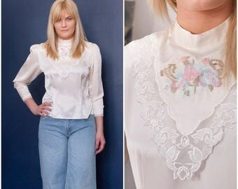 80s Pastel Blouse Embroidered White Blouse Small Silky Bib Front Blouse Back Button Down Top Long Sleeve Ivory Blouse Lace Detail Fitted Top