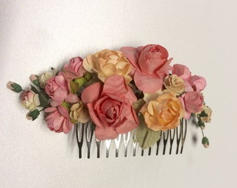 Decorated hair comb, wedding hairpiece, warm earthy tones rose comb, bridal, bridesmaid headpiece