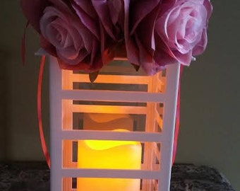 Flickering Pillar Candle Lantern Centerpiece for Weddings, Bridal Shower, Parties to Decorate Yourself or Display As Is
