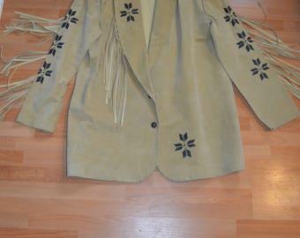 Men's Authentic Vintage Fringe Suede Leather Cowboy Jacket with Longhorn Design