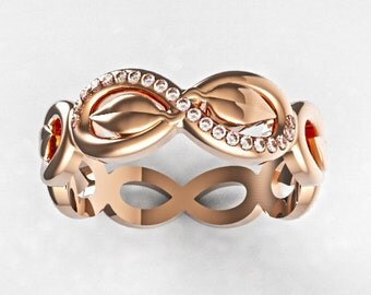 Gold Infinity Engagement Ring, Infinity Wedding Ring, Rose Gold Infinity Ring,Diamond Infinity Ring,Infinity Eternity Ring, Eternity Band